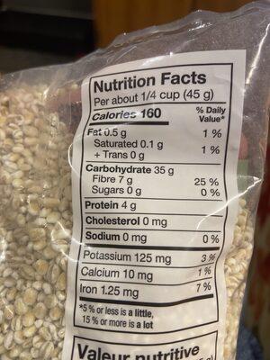 Pearl Barley - Informations nutritionnelles - en