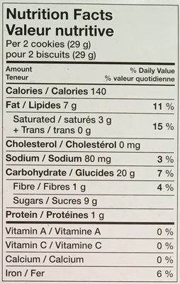 Chocolate Chip Cookies - Informations nutritionnelles - en