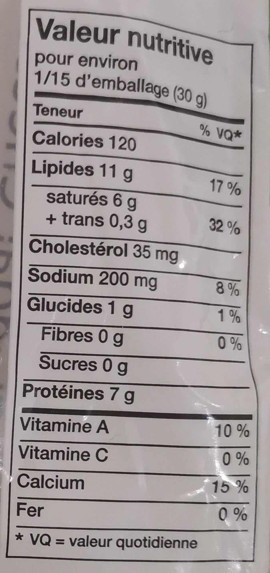 Medium Cheddar Cheese - Nutrition facts