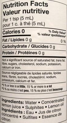 Jus De Citron Fait De Concentré - Informations nutritionnelles