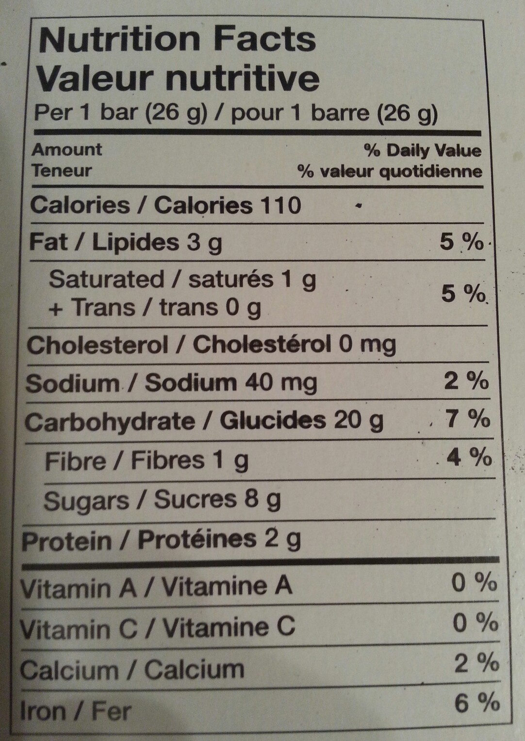 Chocolate chip chewy granola bars - Nutrition facts - fr