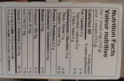 Collation Pomme, pêche et mangue - Informations nutritionnelles