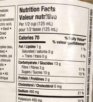 Marinara au basilic - Informations nutritionnelles - fr