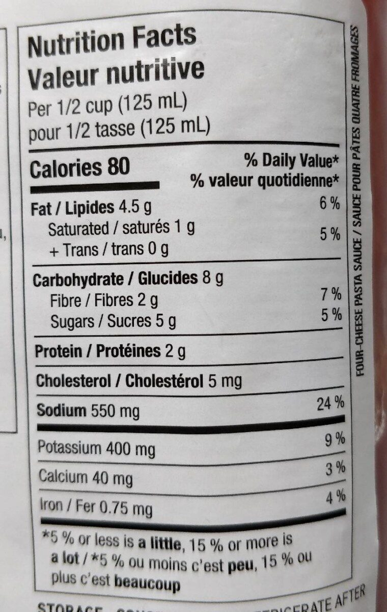 Four-Cheese - Nutrition facts - en
