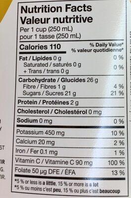 Pur & naturel avec pulpe - Informations nutritionnelles - fr