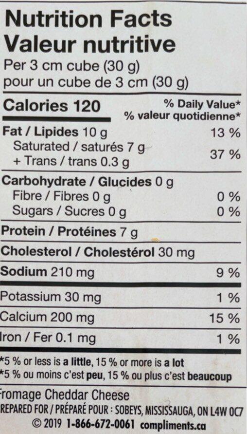 Cheddar fort - Informations nutritionnelles - fr