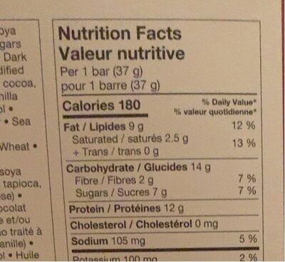 protein bar - Informations nutritionnelles - fr