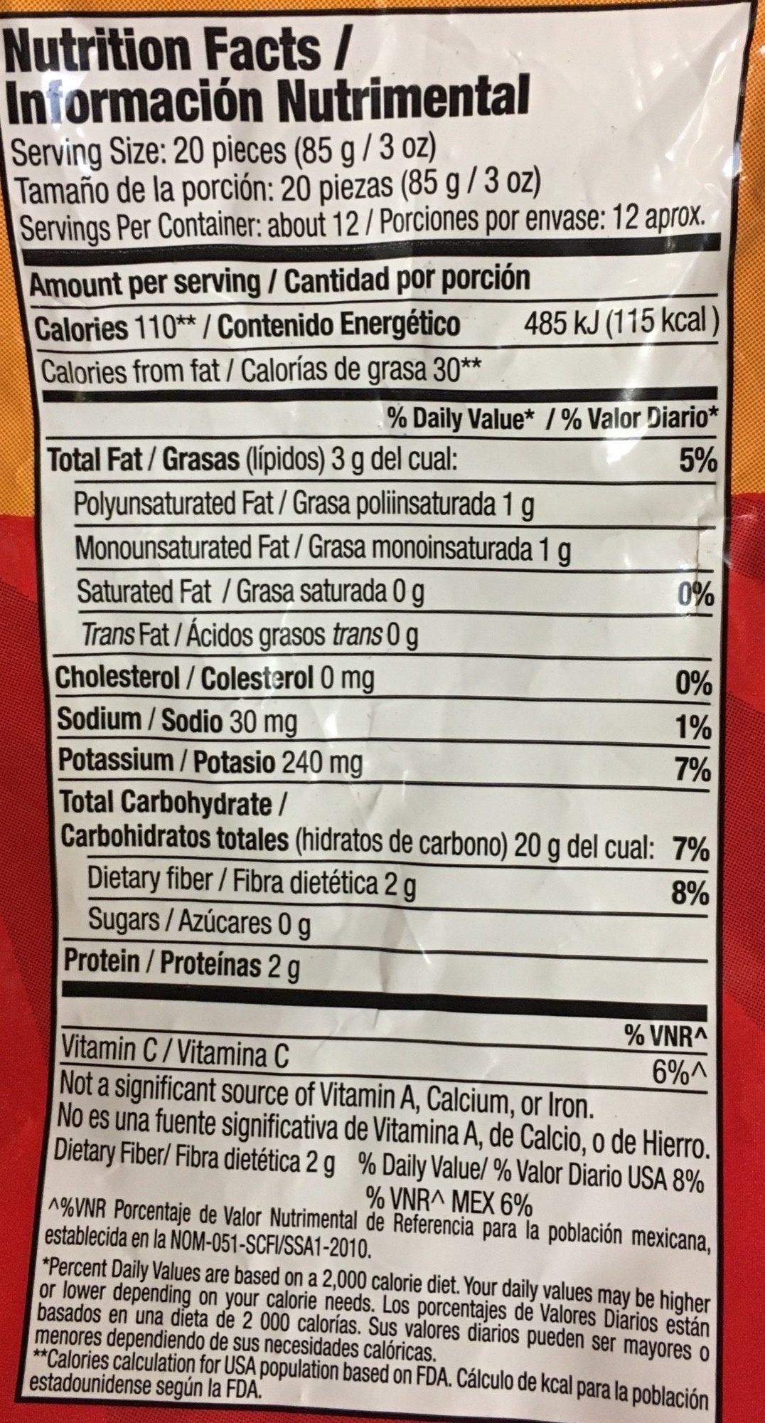 Papas Straight Cut Mc Cain - Informations nutritionnelles - es