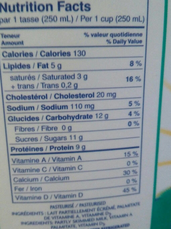 Lait (2%) - Informations nutritionnelles - fr