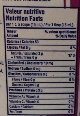 Crème à fouetter 35% - Informations nutritionnelles - fr