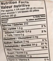 Petites Coquilles - Nutrition facts - fr