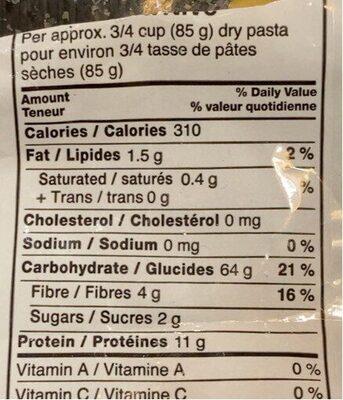 Pâte alimentaire - Nutrition facts - fr