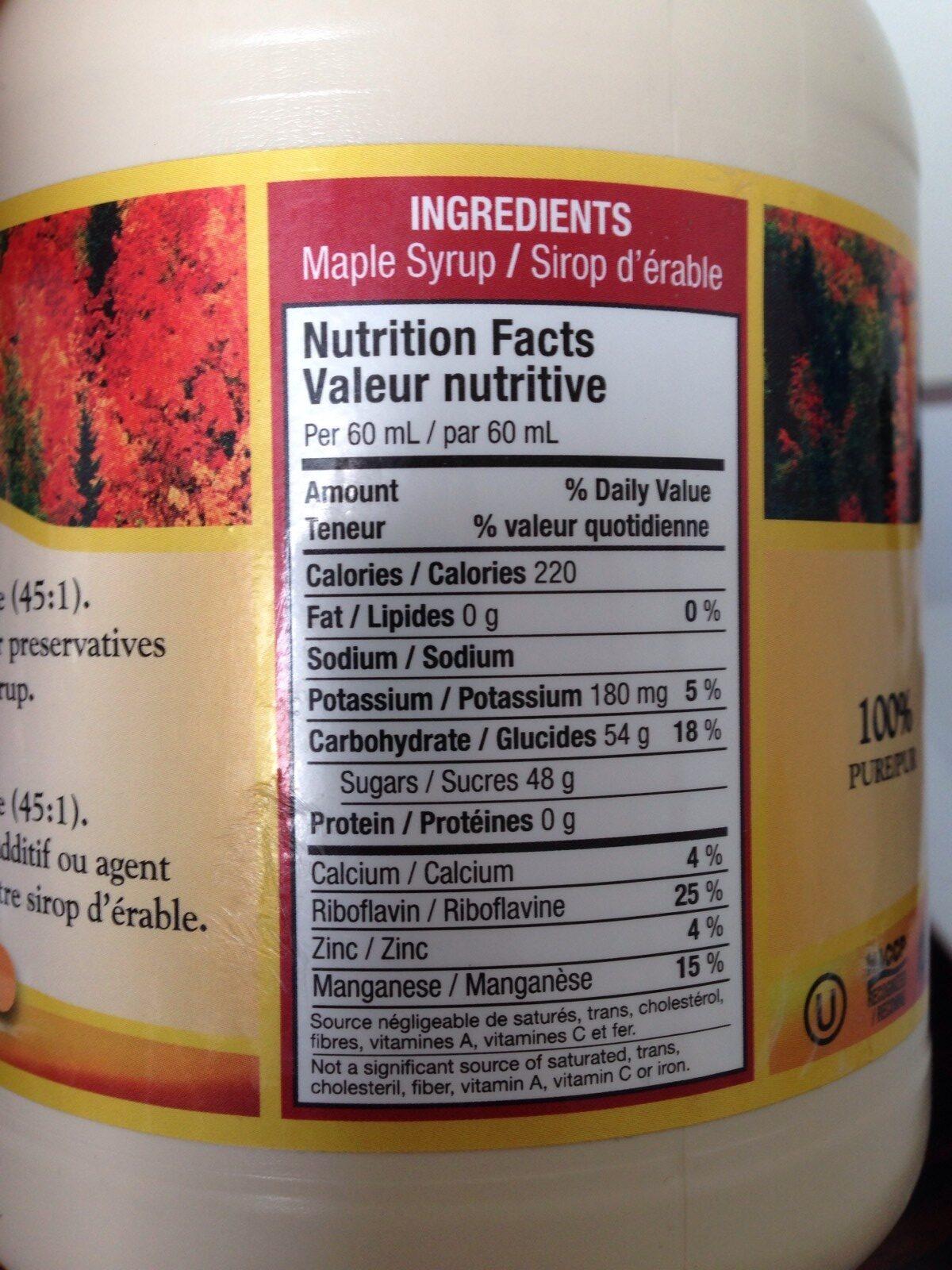 Pure Maple Syrup Medium - Ingrédients - fr
