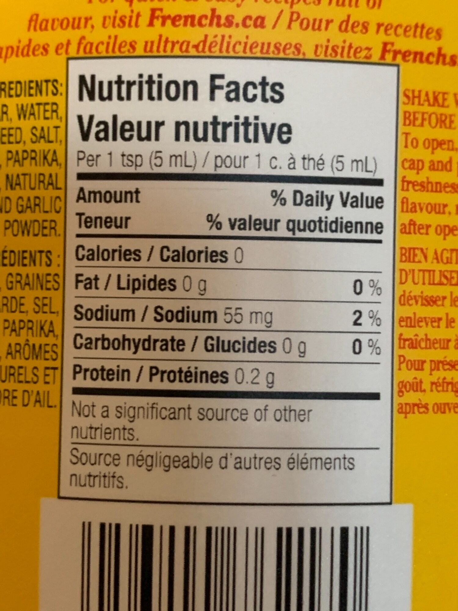 Moutarde - Informations nutritionnelles - en