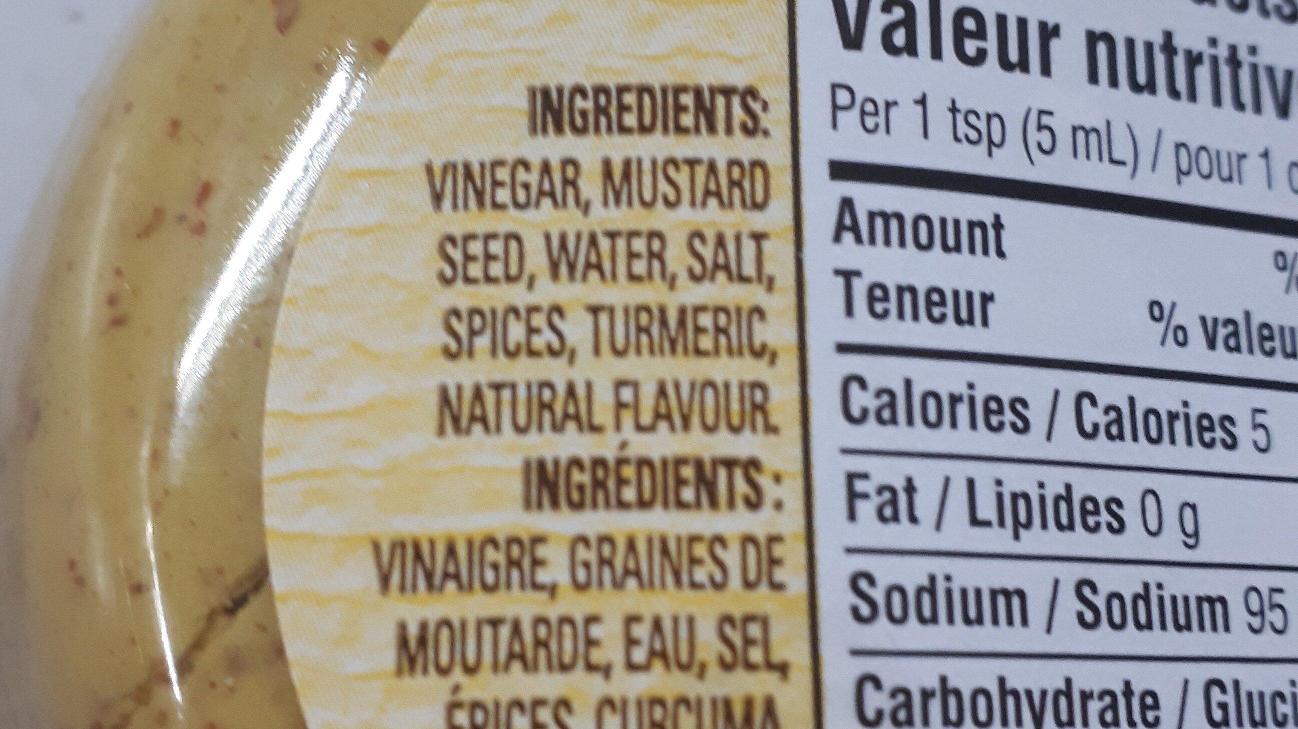 Moutarde préparée - Ingredients - fr