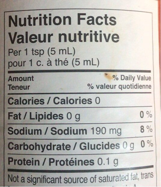 Frank's Red Hot - Nutrition facts - fr