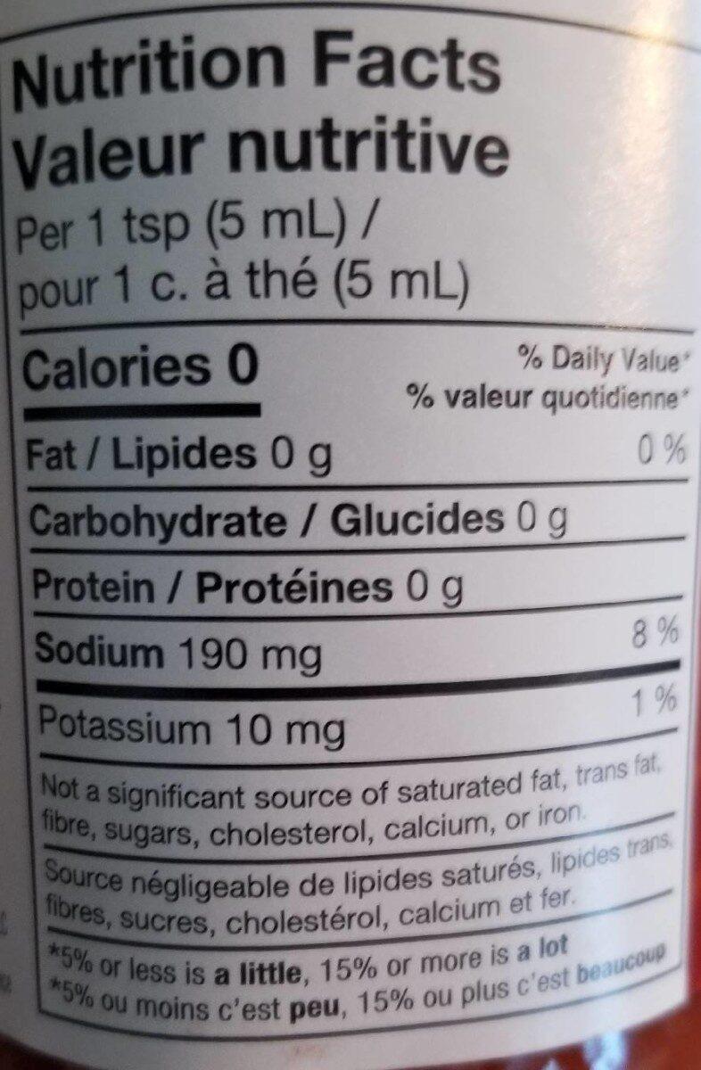 Frank's Red Hot - Informations nutritionnelles - fr