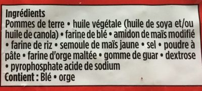 Frites coupe mince - Ingredients - fr