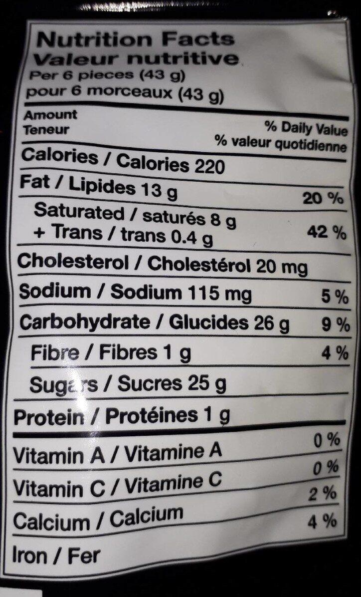 Skor mini - Informations nutritionnelles - en