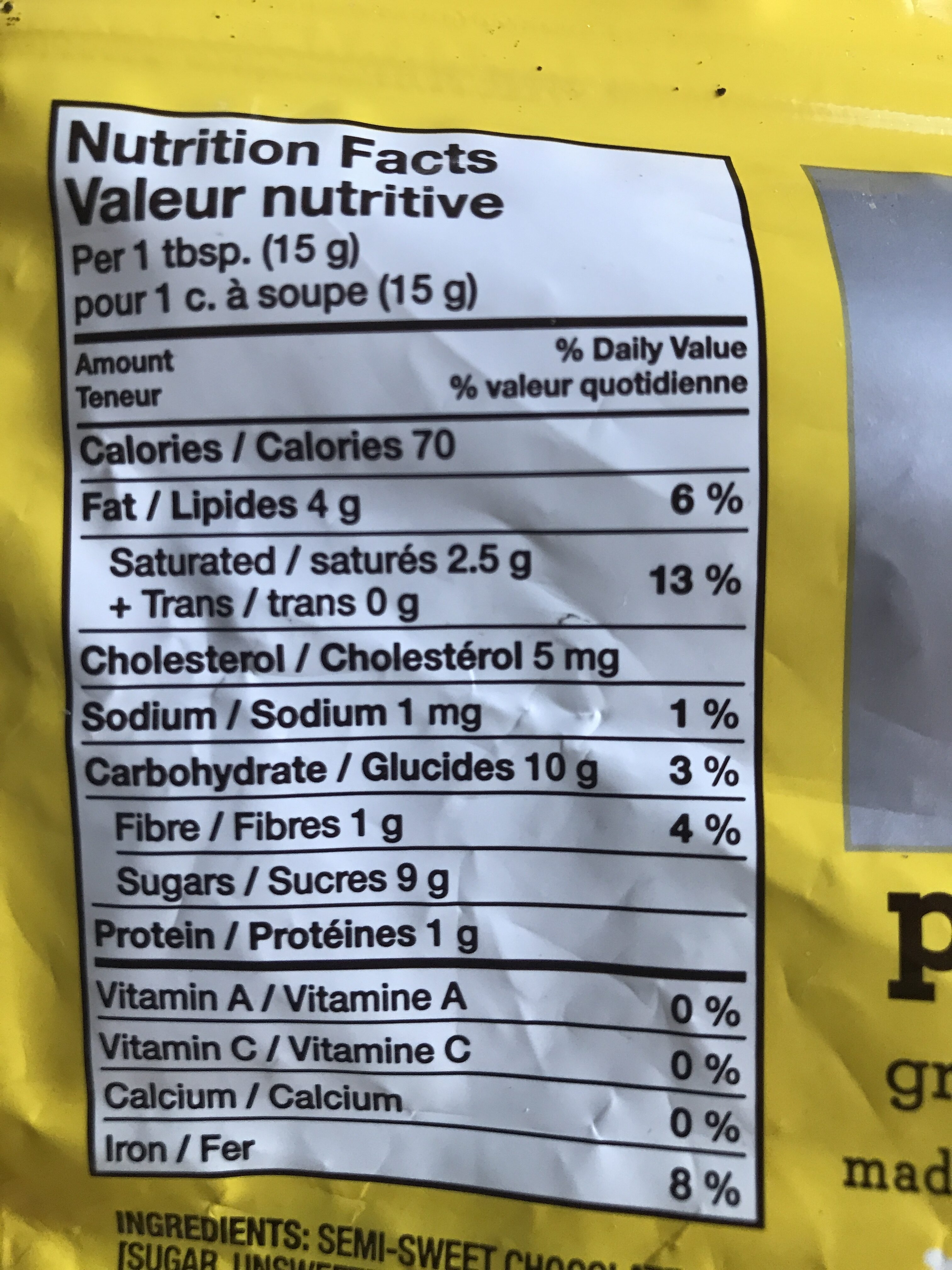 Chipits pure semi-sweet chocolate chips - Informations nutritionnelles - en