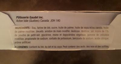 Tartelette aux bleuets - Ingredients - fr