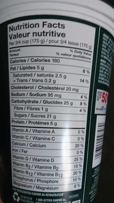 Yogourt Probiotique Activia (pruneau) - Nutrition facts