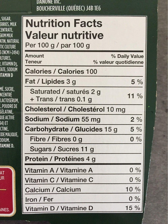 Yogourt Probiotique Activia (fraises, Vanille) - Informations nutritionnelles - fr