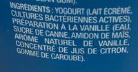 Greek Vanilla Yogurt 0% M. F. - Ingredients - fr