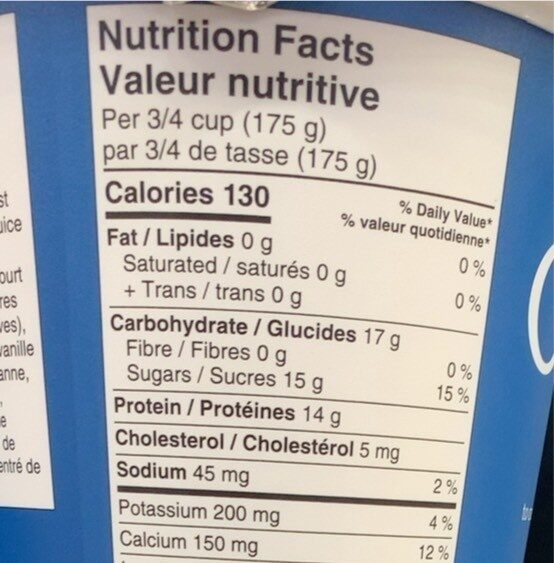 Greek Vanilla Yogurt 0% M. F. - Nutrition facts - fr