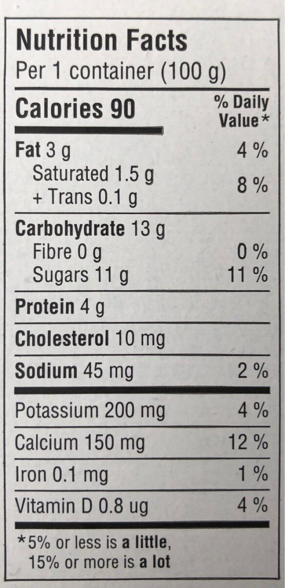 Activia - Nutrition facts - en