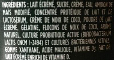 Activia saveurs coco - Ingrédients