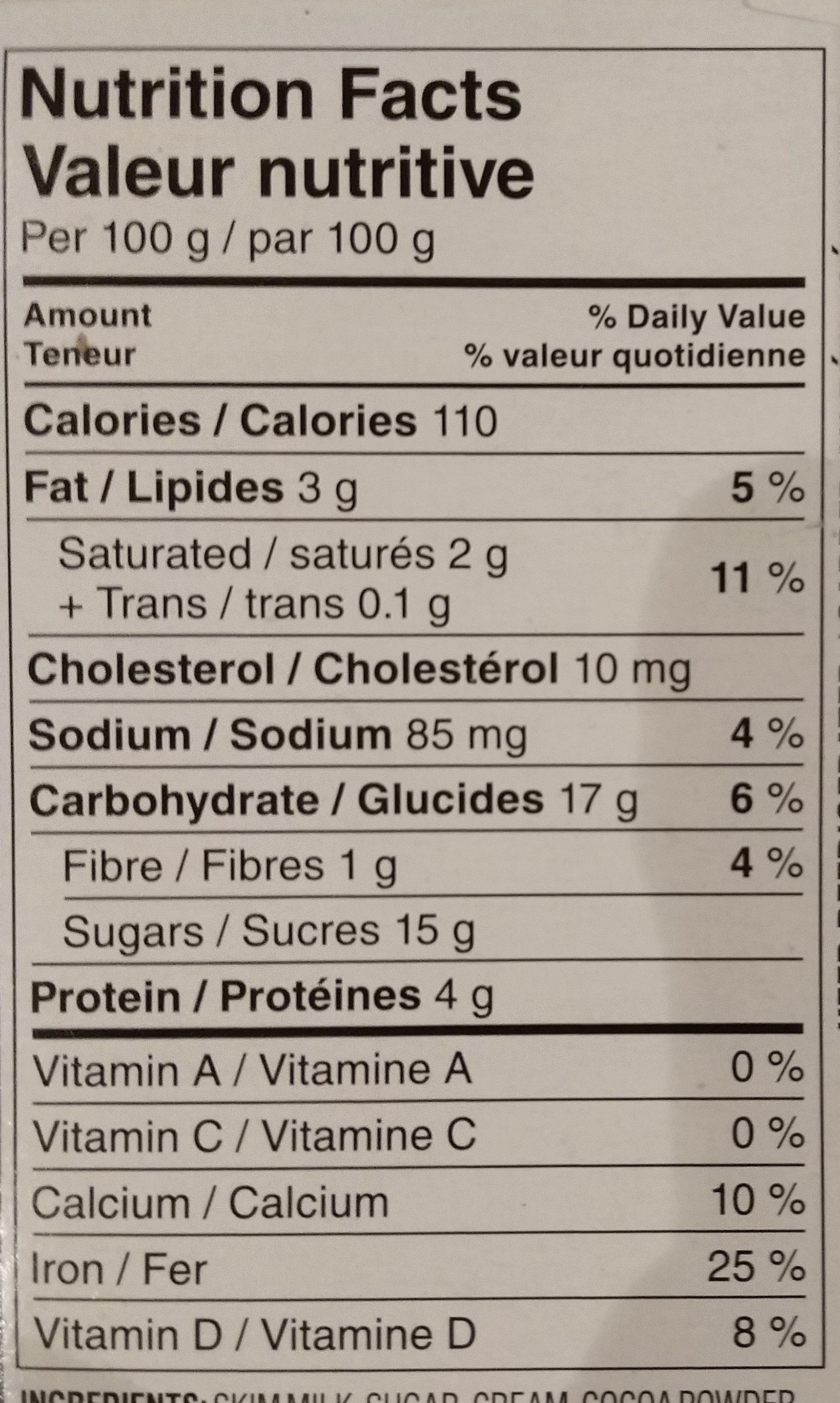 Danette chocolat noir - Informations nutritionnelles - en