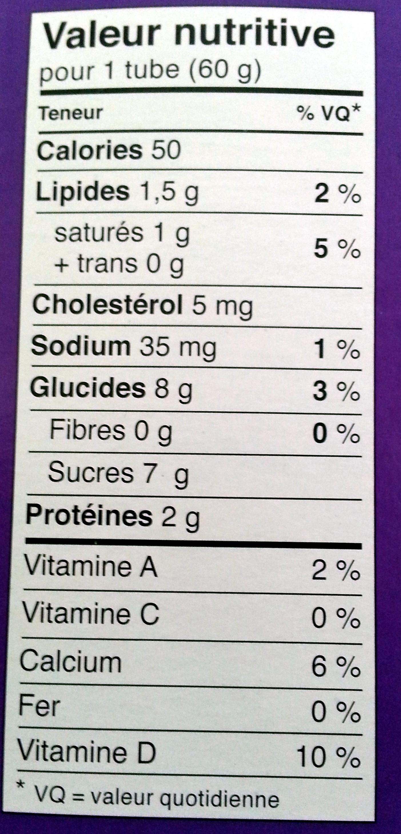 Tube - Informations nutritionnelles - fr