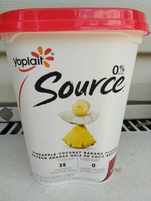 Source 0% M.F. Pineapple-Coconut-Banana flavour yogurt - Product - en