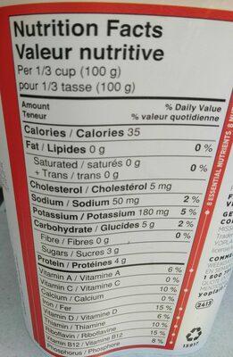 Source 0% M.F. Pineapple-Coconut-Banana flavour yogurt - Nutrition facts - en