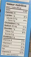 Tubes vanille - Informations nutritionnelles - fr