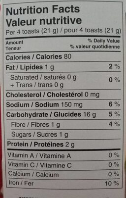 Melba toast - Voedingswaarden