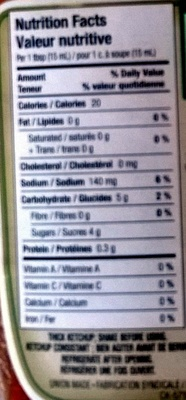 Heinz ketchup - Nutrition facts