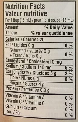 Ketchup Aux Tomates - Informations nutritionnelles