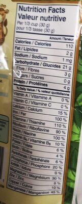 Céréale entières mélangées - Informations nutritionnelles - fr