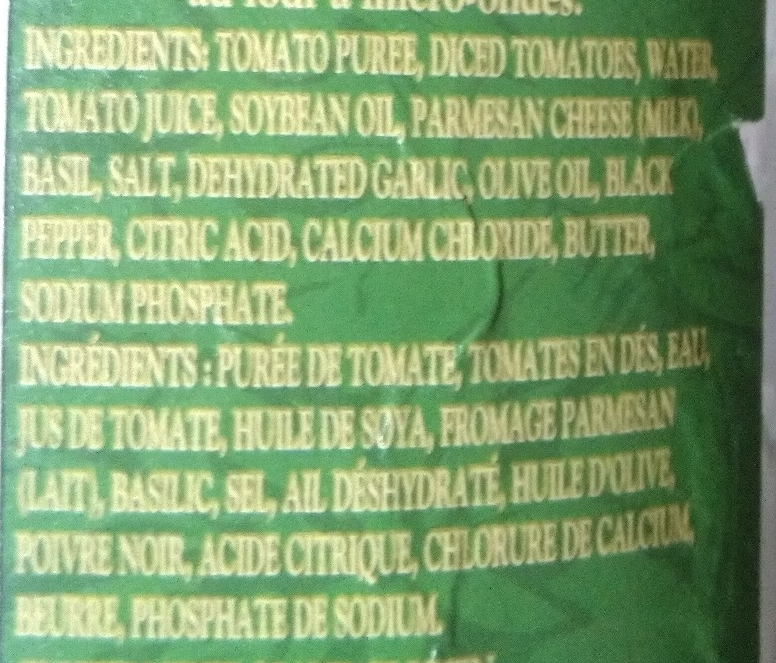 Sauce Tomate et Pesto - Ingredientes - fr