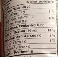Sauce Tomate et Pesto - Informação nutricional - fr