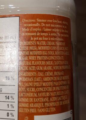Sauce Alfredo et Ail Rôti - Ingrédients - fr