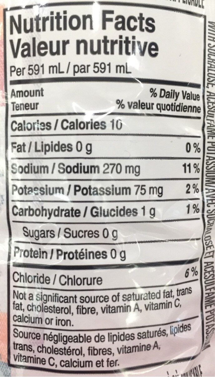 G zero - Nutrition facts
