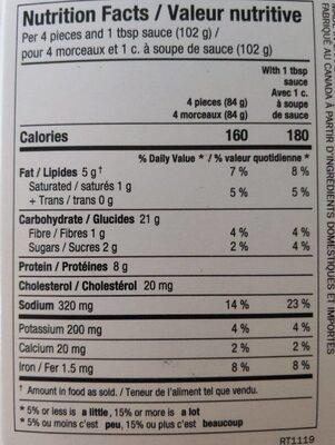 Dumplings - Nutrition facts - fr