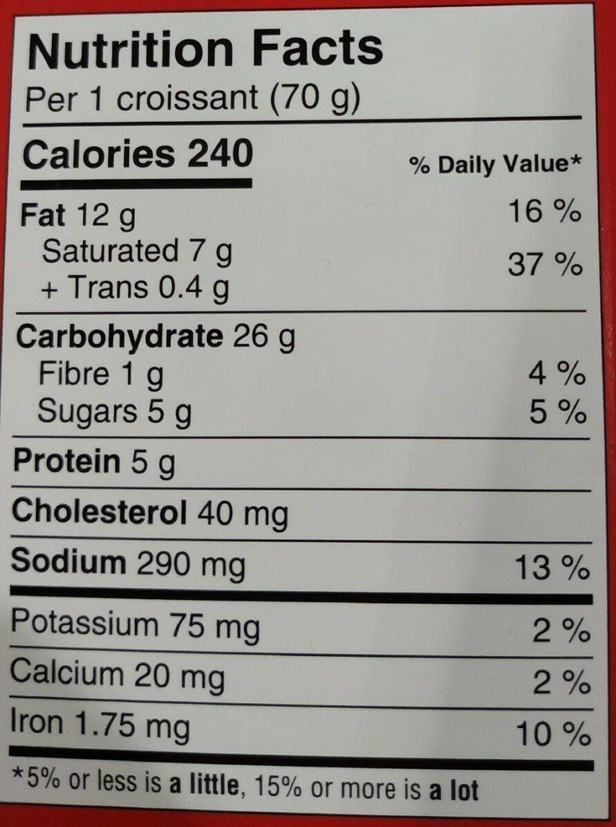 Croissants Tout Beurre - Nutrition facts - fr