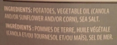 Go 2 Snax Original Potato Chips - Ingrédients - fr