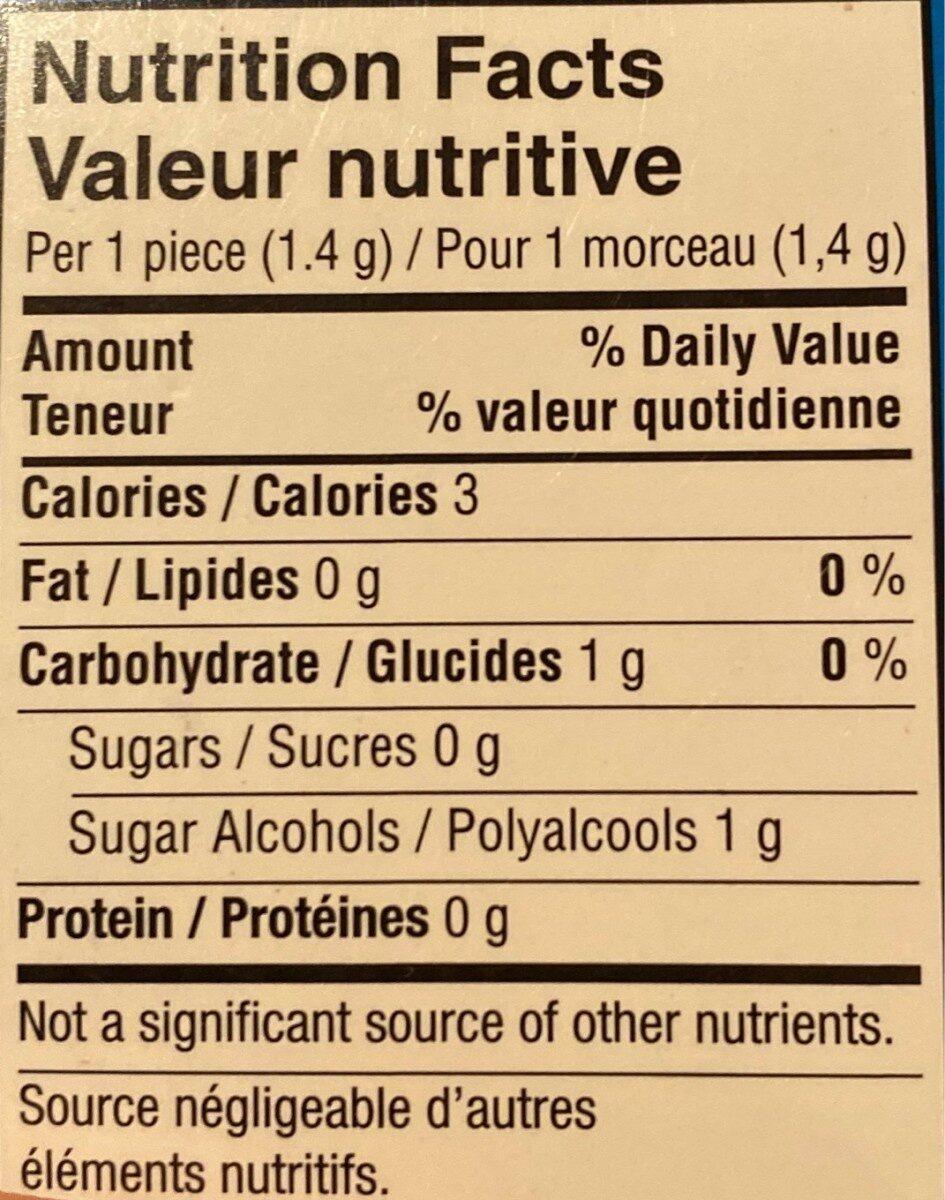 Chewing gum menthe poivrée - Nutrition facts - fr