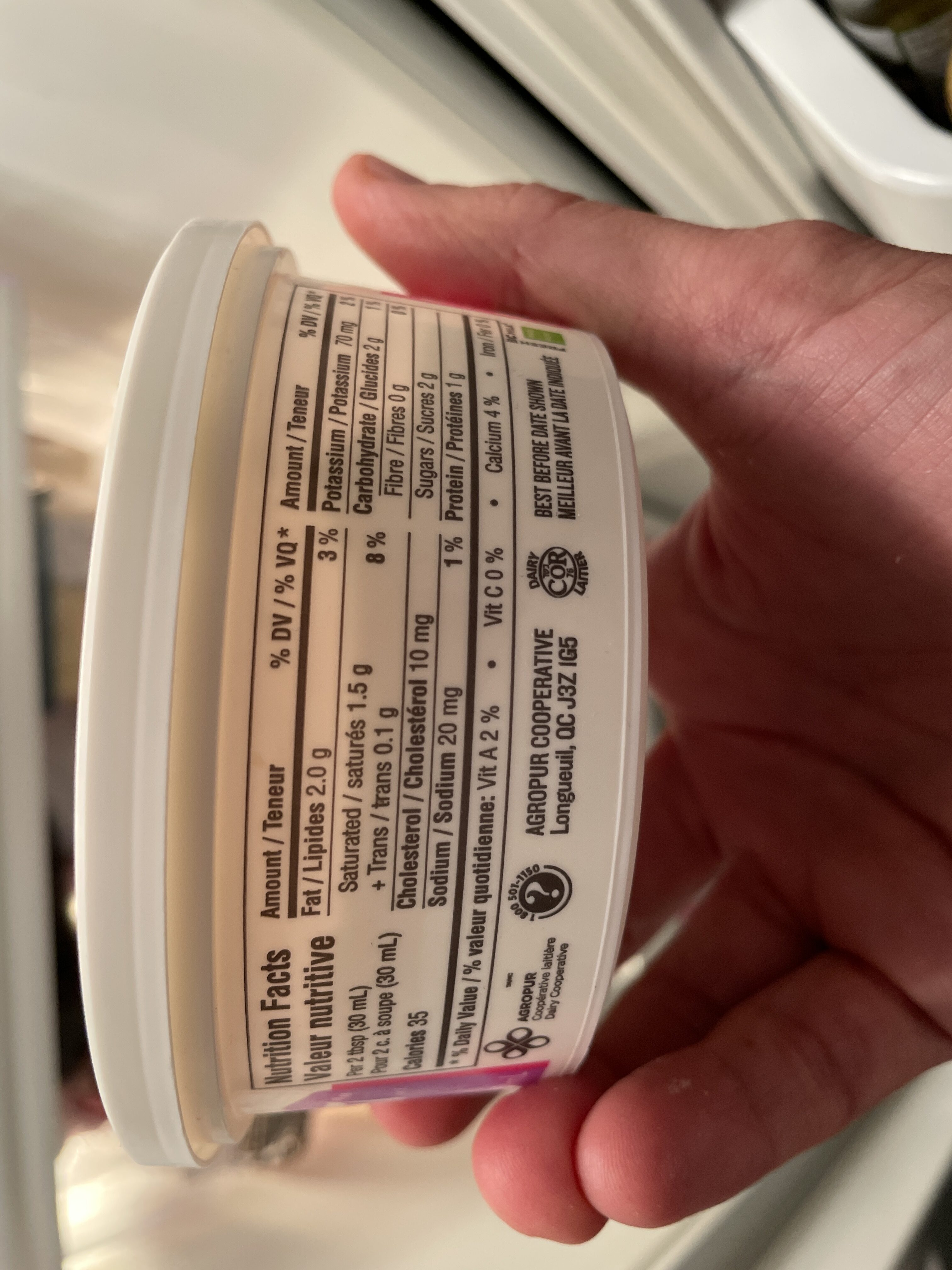 Island Farms sour cream - Nutrition facts - en