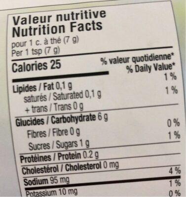 Mélange à Soupe (bouillon De Légumes) - Nutrition facts - fr